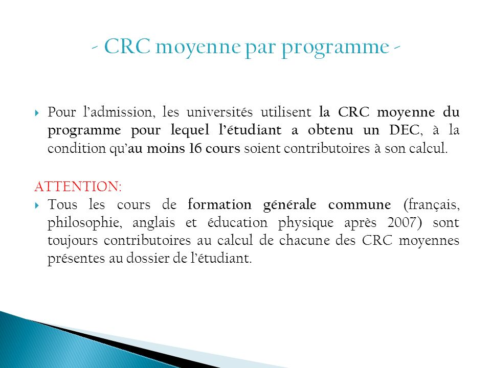 - CRC moyenne par programme -