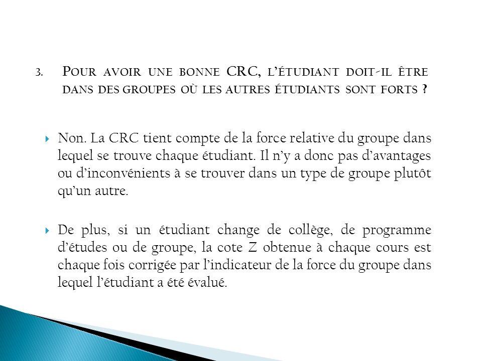 Pour avoir une bonne CRC, l'étudiant doit-il être dans des groupes où les autres étudiants sont forts