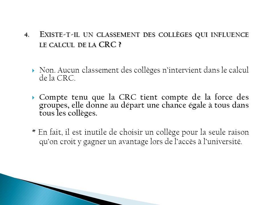 Existe-t-il un classement des collèges qui influence le calcul de la CRC
