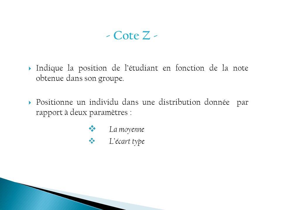 - Cote Z - Indique la position de l'étudiant en fonction de la note obtenue dans son groupe.