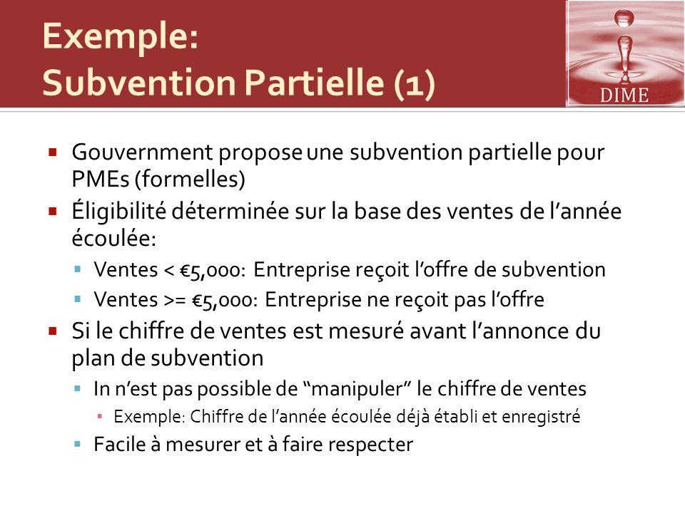 Exemple: Subvention Partielle (1)