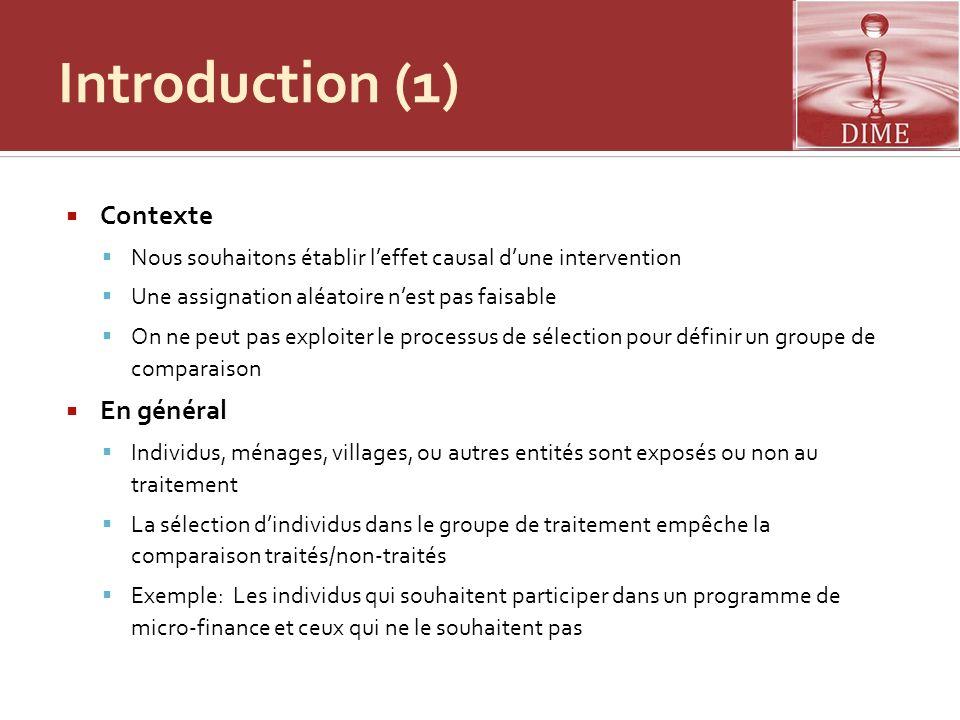 Introduction (1) Contexte En général