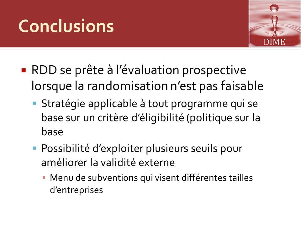 Conclusions RDD se prête à l'évaluation prospective lorsque la randomisation n'est pas faisable.