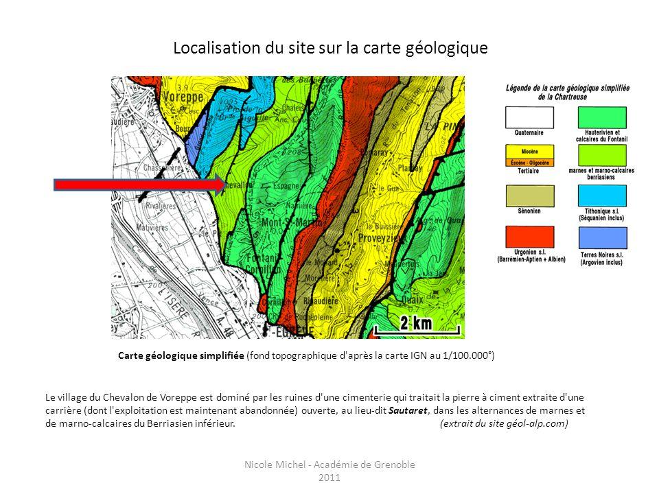 Localisation du site sur la carte géologique