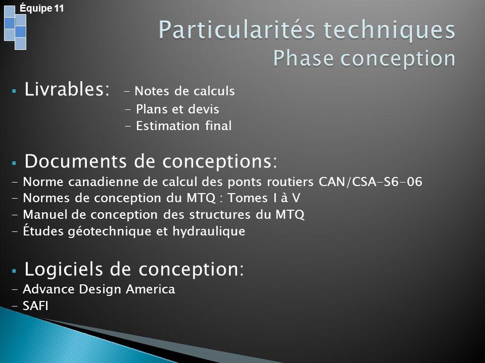 Particularités techniques Phase conception