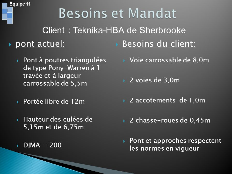 Besoins et Mandat Client : Teknika-HBA de Sherbrooke pont actuel: