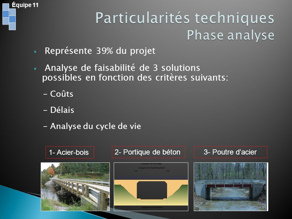 Particularités techniques Phase analyse