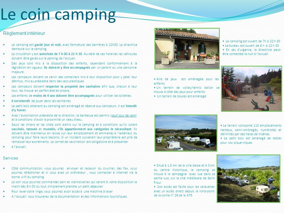 Le coin camping Règlement intérieur Services