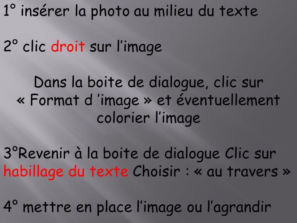 1° insérer la photo au milieu du texte