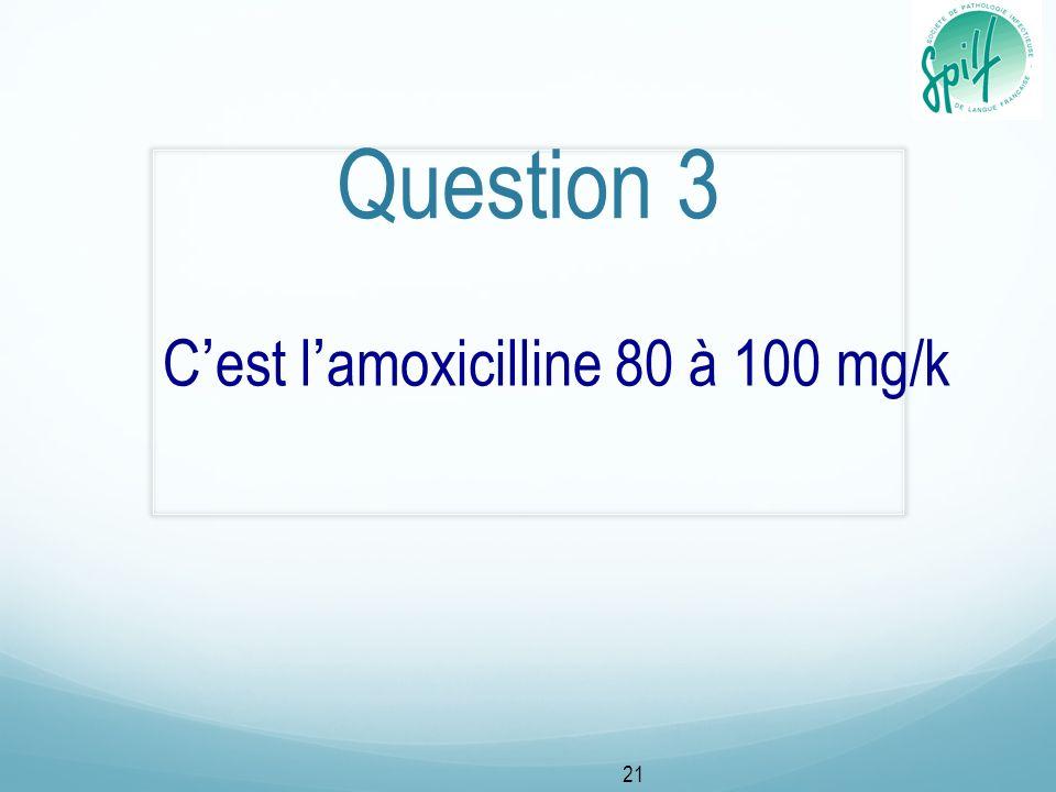 C'est l'amoxicilline 80 à 100 mg/k