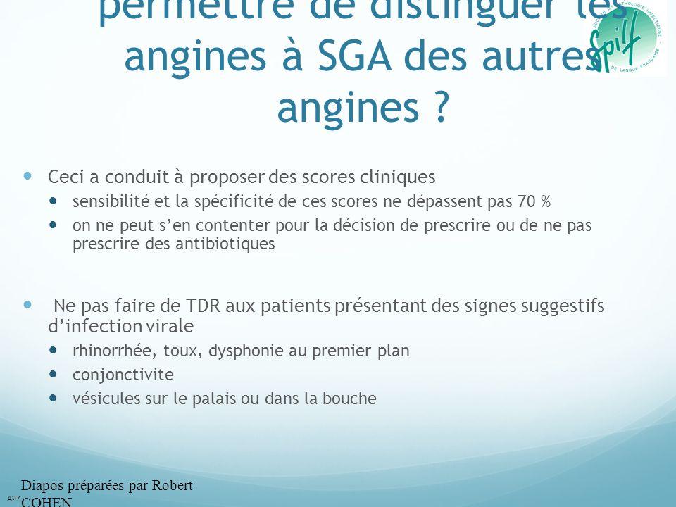 La clinique peut-elle permettre de distinguer les angines à SGA des autres angines