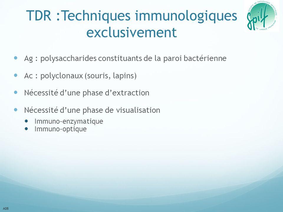 TDR :Techniques immunologiques exclusivement