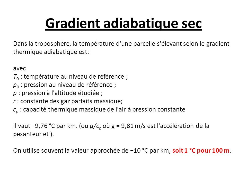 Gradient adiabatique sec