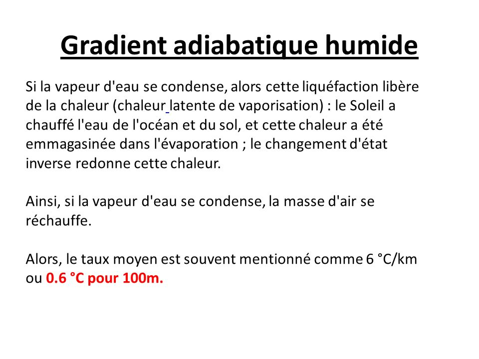 Gradient adiabatique humide