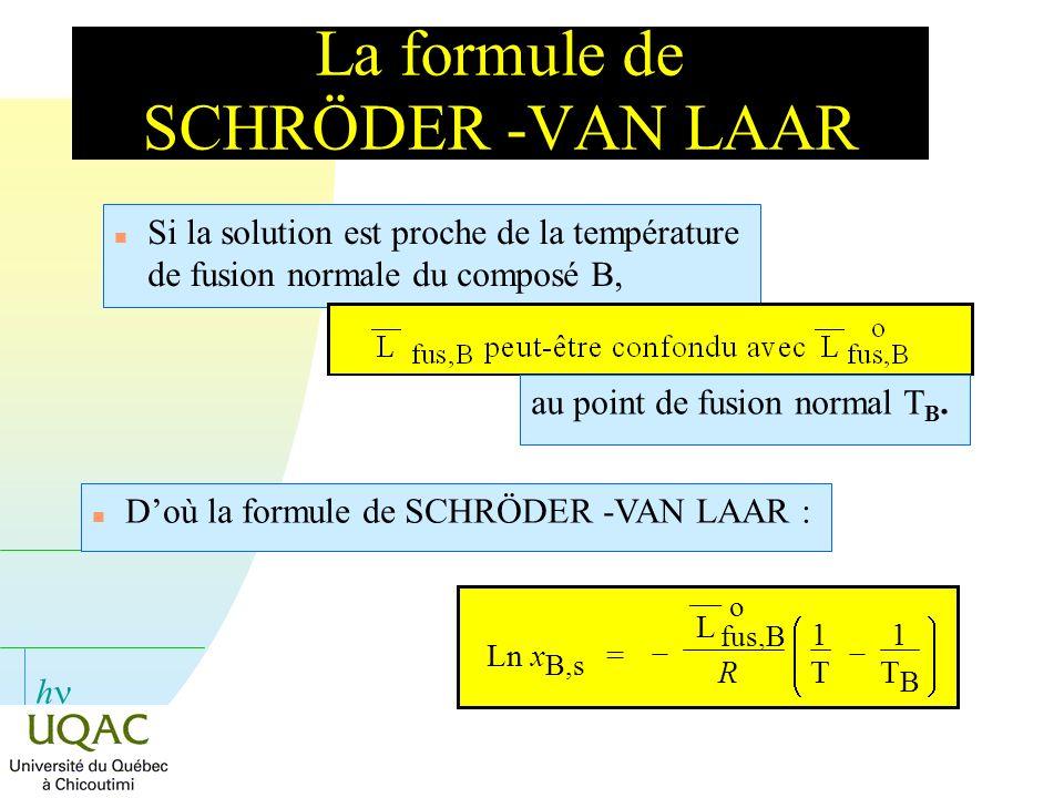 La formule de SCHRÖDER -VAN LAAR