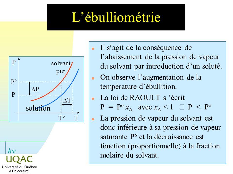 L'ébulliométrie P° T° solvant pur. Il s'agit de la conséquence de l'abaissement de la pression de vapeur du solvant par introduction d'un soluté.