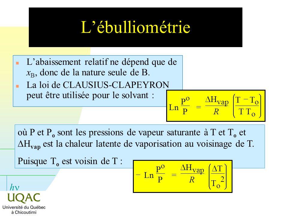 L'ébulliométrie L'abaissement relatif ne dépend que de xB, donc de la nature seule de B.