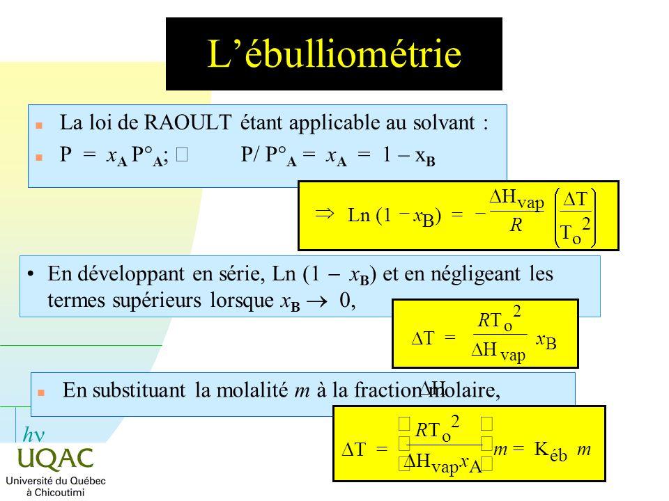 L'ébulliométrie La loi de RAOULT étant applicable au solvant :