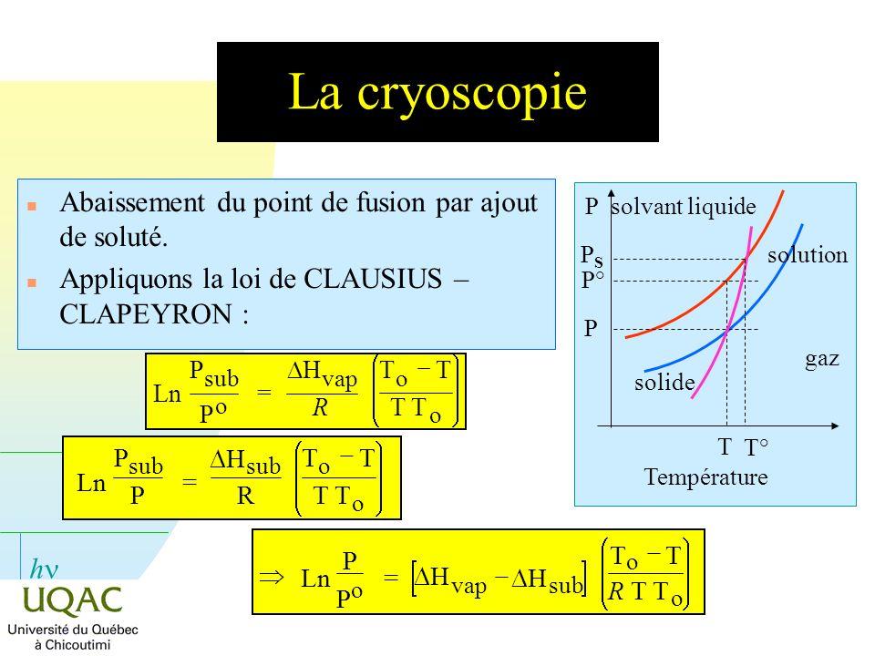 La cryoscopie Abaissement du point de fusion par ajout de soluté.