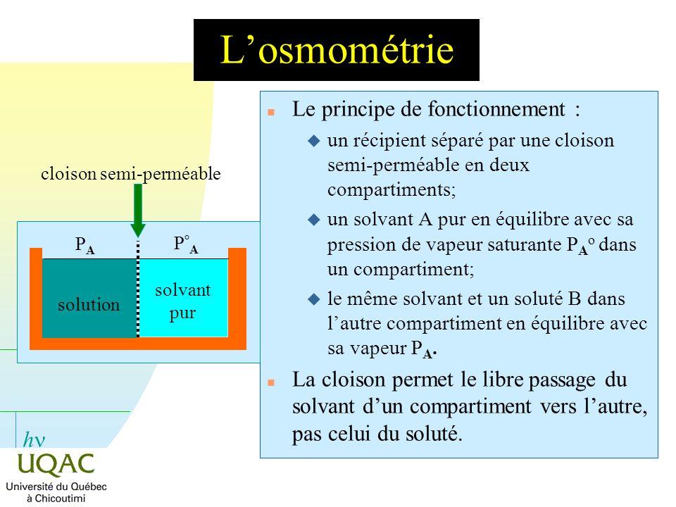 L'osmométrie Le principe de fonctionnement :
