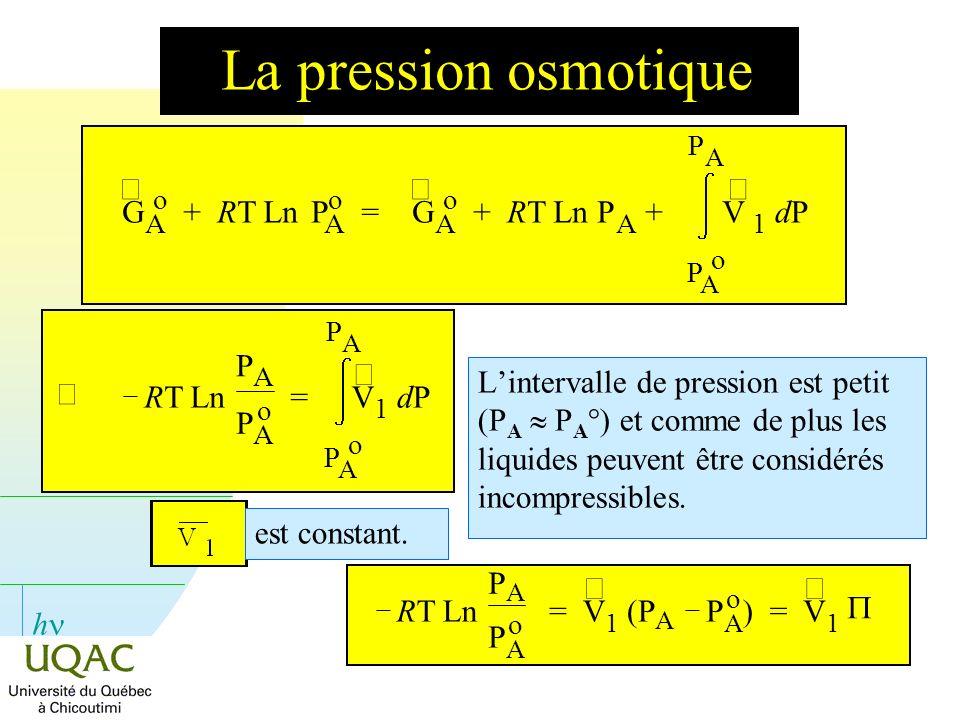 La pression osmotique ¾ G + RT Ln P = + RT Ln P + V dP Þ RT Ln P = ¾ V
