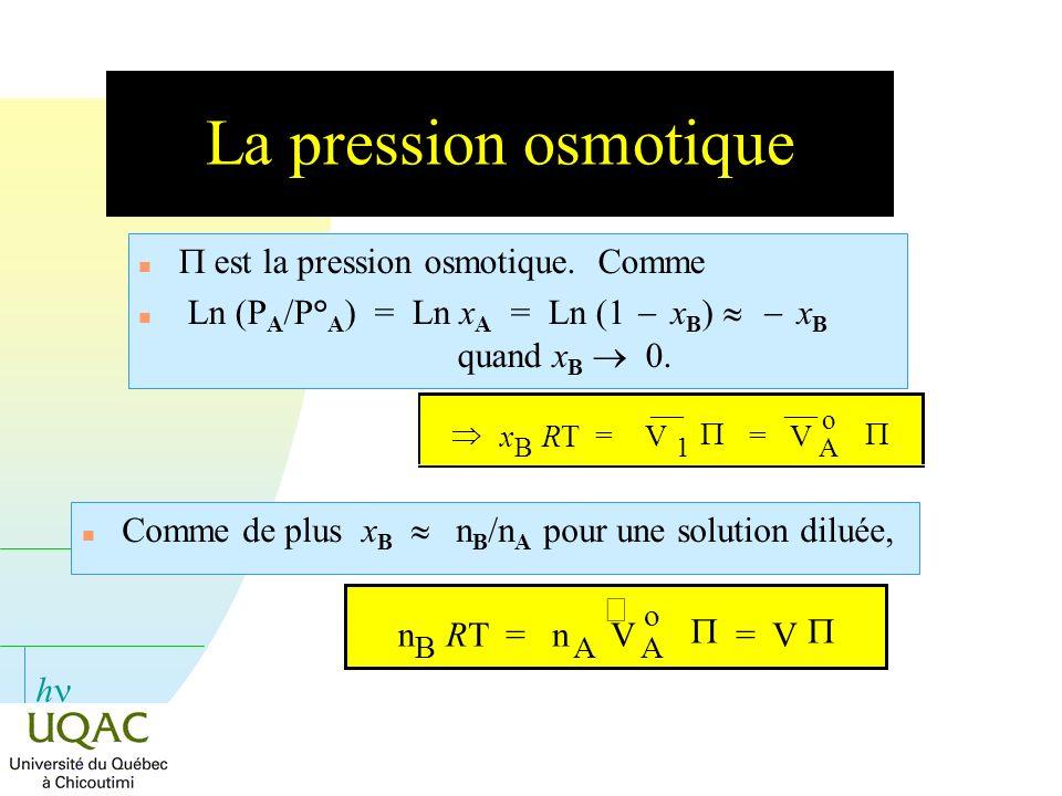 La pression osmotique P est la pression osmotique. Comme