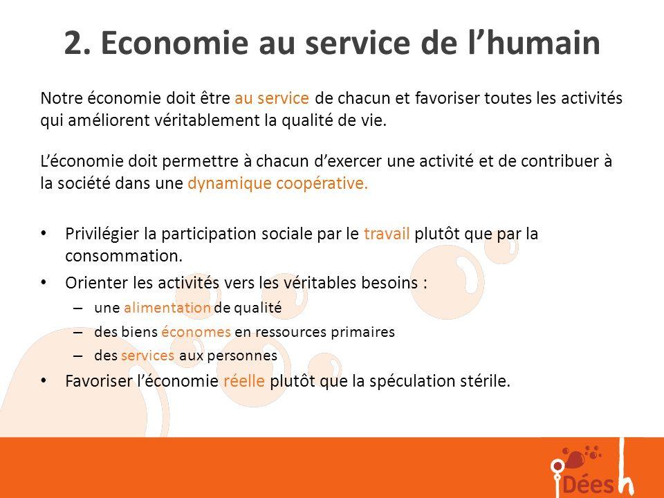 2. Economie au service de l'humain