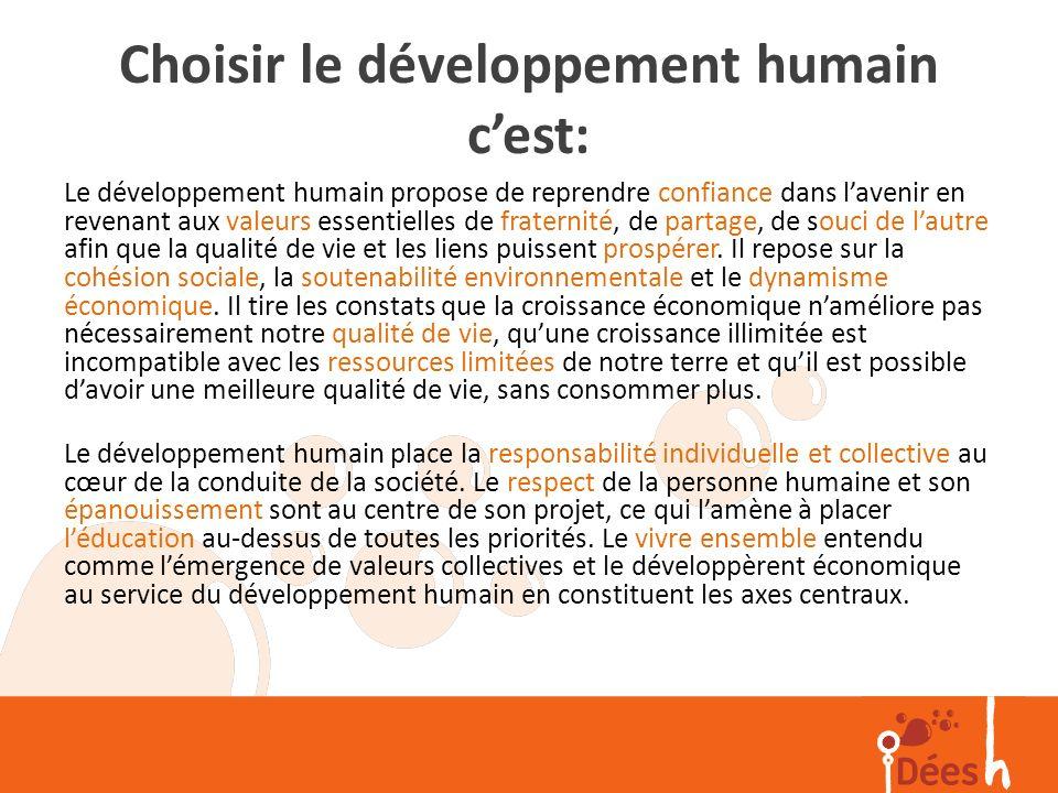 Choisir le développement humain c'est: