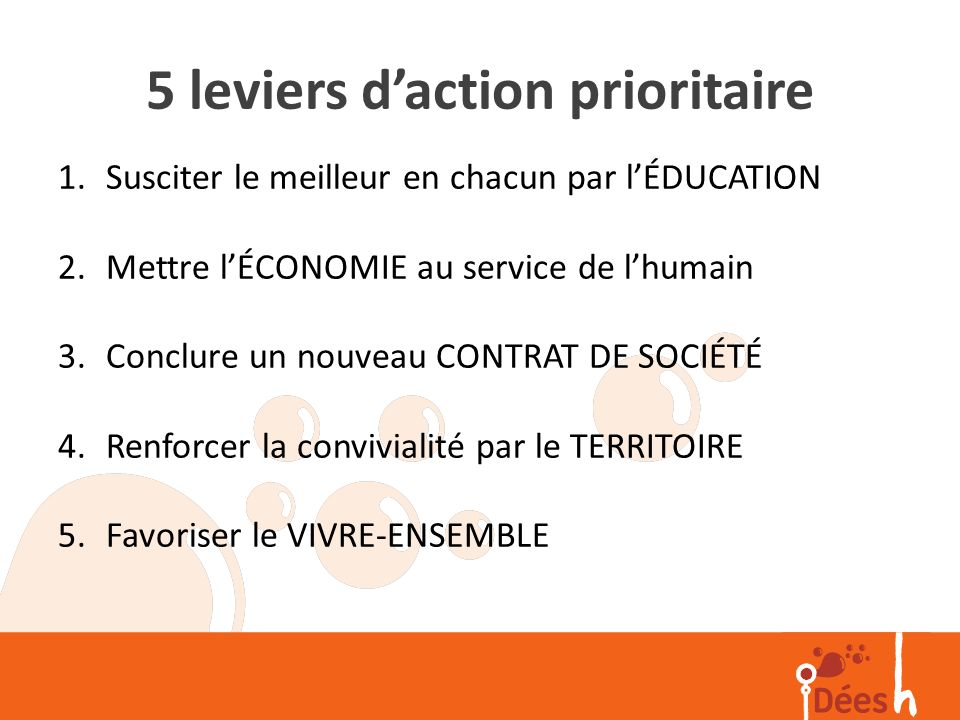 5 leviers d'action prioritaire