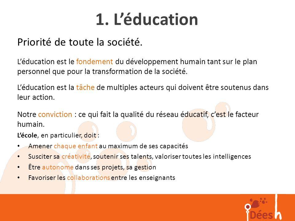 1. L'éducation Priorité de toute la société.