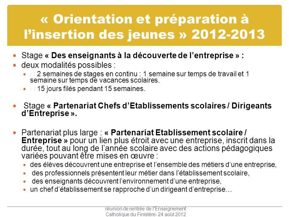 « Orientation et préparation à l'insertion des jeunes » 2012-2013