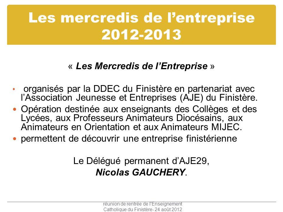 Les mercredis de l'entreprise 2012-2013