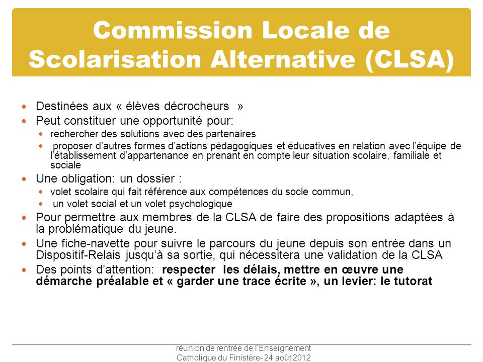 Commission Locale de Scolarisation Alternative (CLSA)