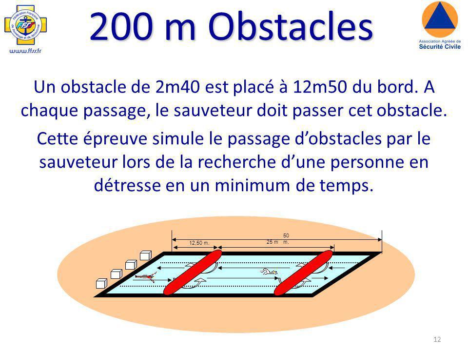 200 m Obstacles Un obstacle de 2m40 est placé à 12m50 du bord. A chaque passage, le sauveteur doit passer cet obstacle.