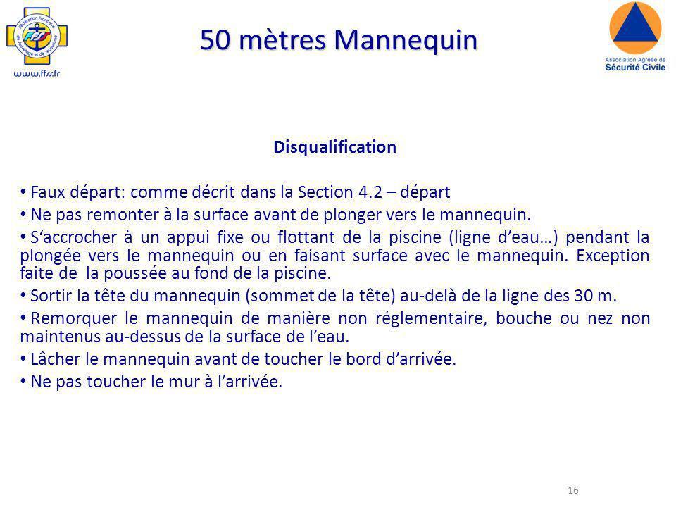 50 mètres Mannequin Disqualification
