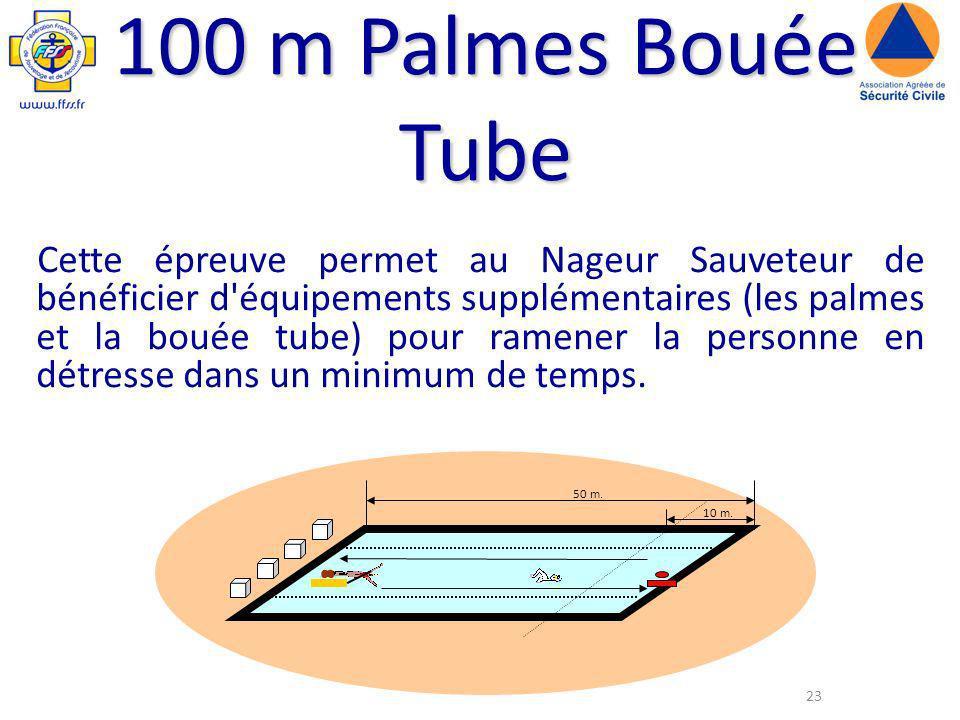 100 m Palmes Bouée Tube