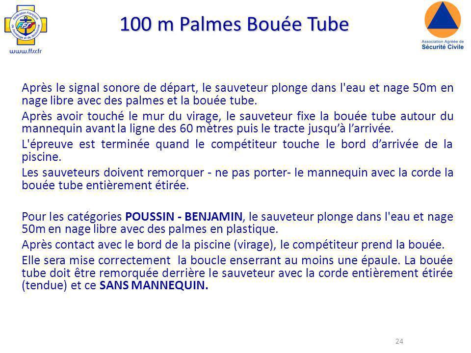 100 m Palmes Bouée Tube Après le signal sonore de départ, le sauveteur plonge dans l eau et nage 50m en nage libre avec des palmes et la bouée tube.