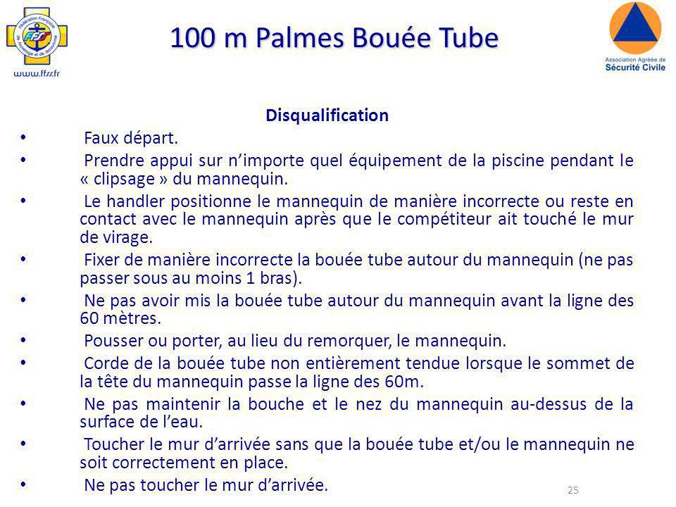 100 m Palmes Bouée Tube Disqualification Faux départ.