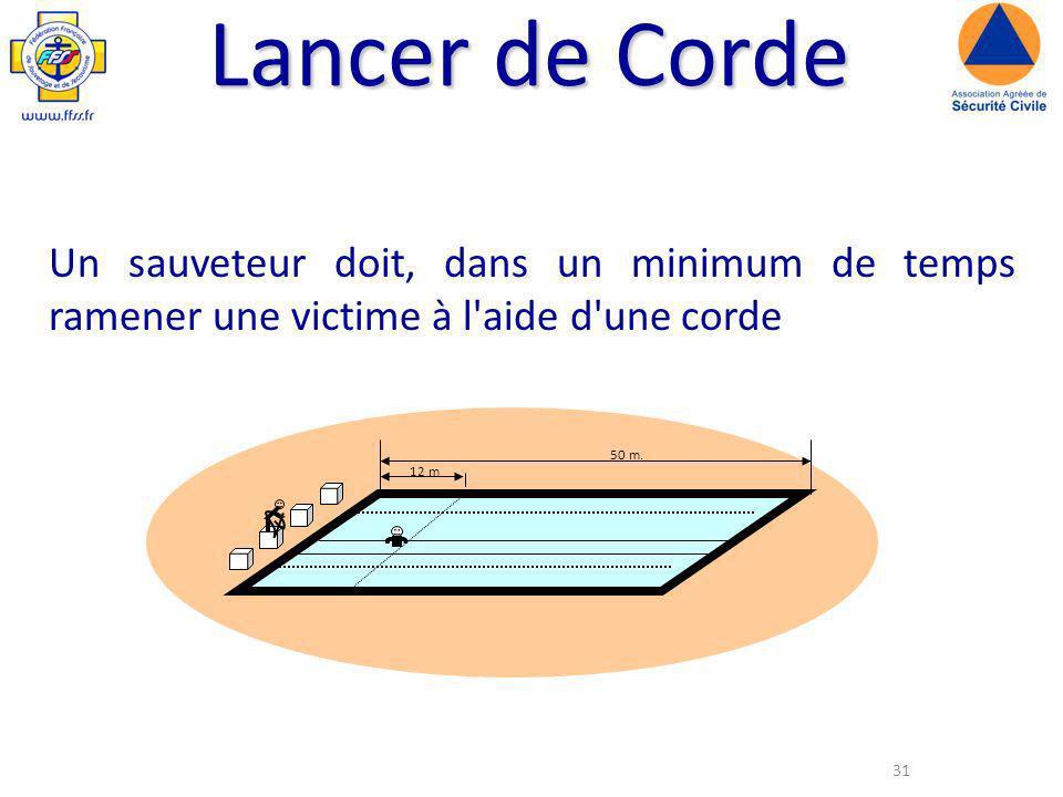 Lancer de Corde Un sauveteur doit, dans un minimum de temps ramener une victime à l aide d une corde.