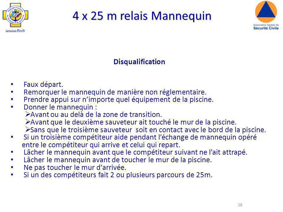4 x 25 m relais Mannequin Disqualification Faux départ.