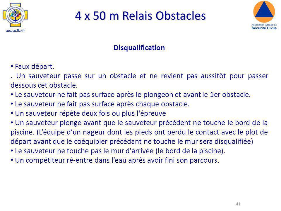 4 x 50 m Relais Obstacles Disqualification Faux départ.