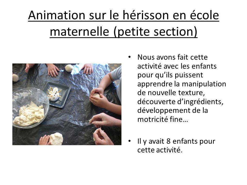 Animation sur le hérisson en école maternelle (petite section)