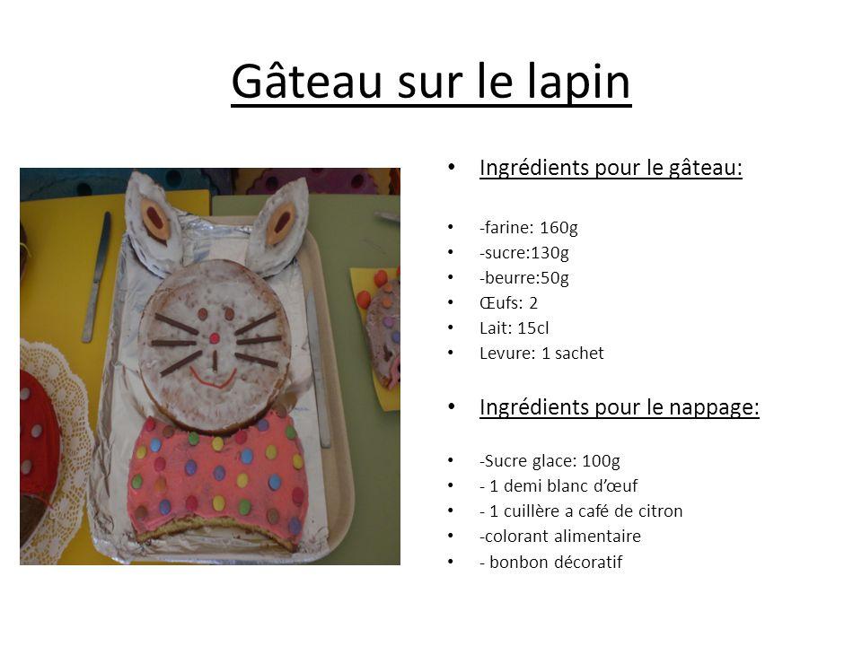 Gâteau sur le lapin Ingrédients pour le gâteau: