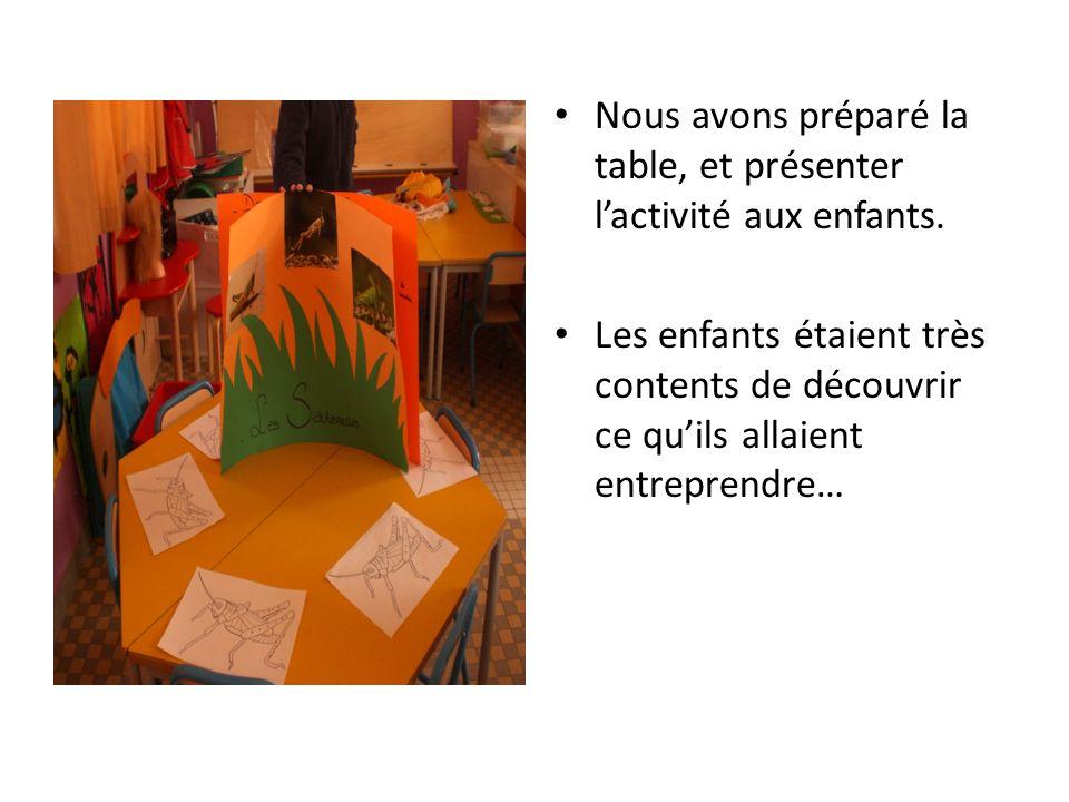 Nous avons préparé la table, et présenter l'activité aux enfants.