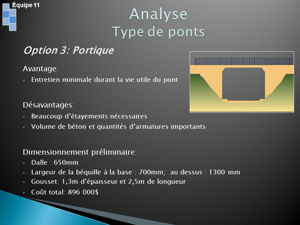 Analyse Type de ponts Option 3: Portique Avantage: Désavantages:
