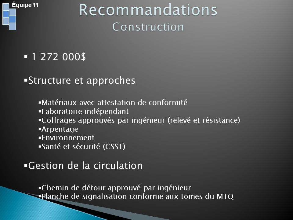 Recommandations Construction 1 272 000$ Structure et approches