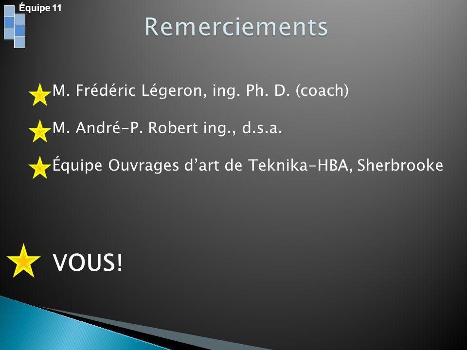 Remerciements VOUS! M. Frédéric Légeron, ing. Ph. D. (coach)