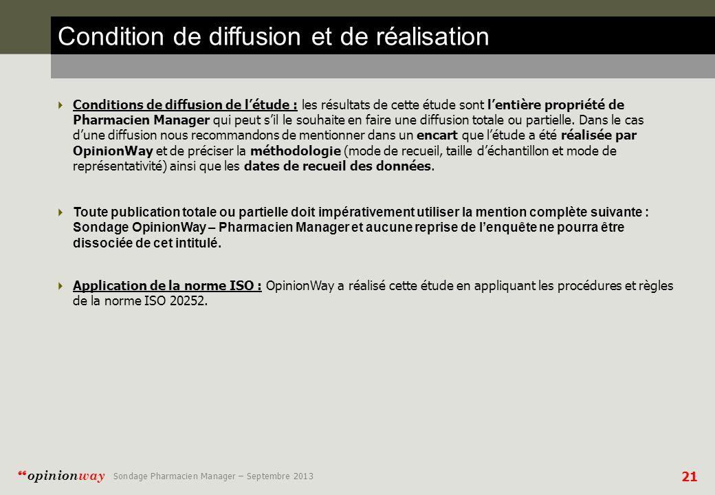 Condition de diffusion et de réalisation