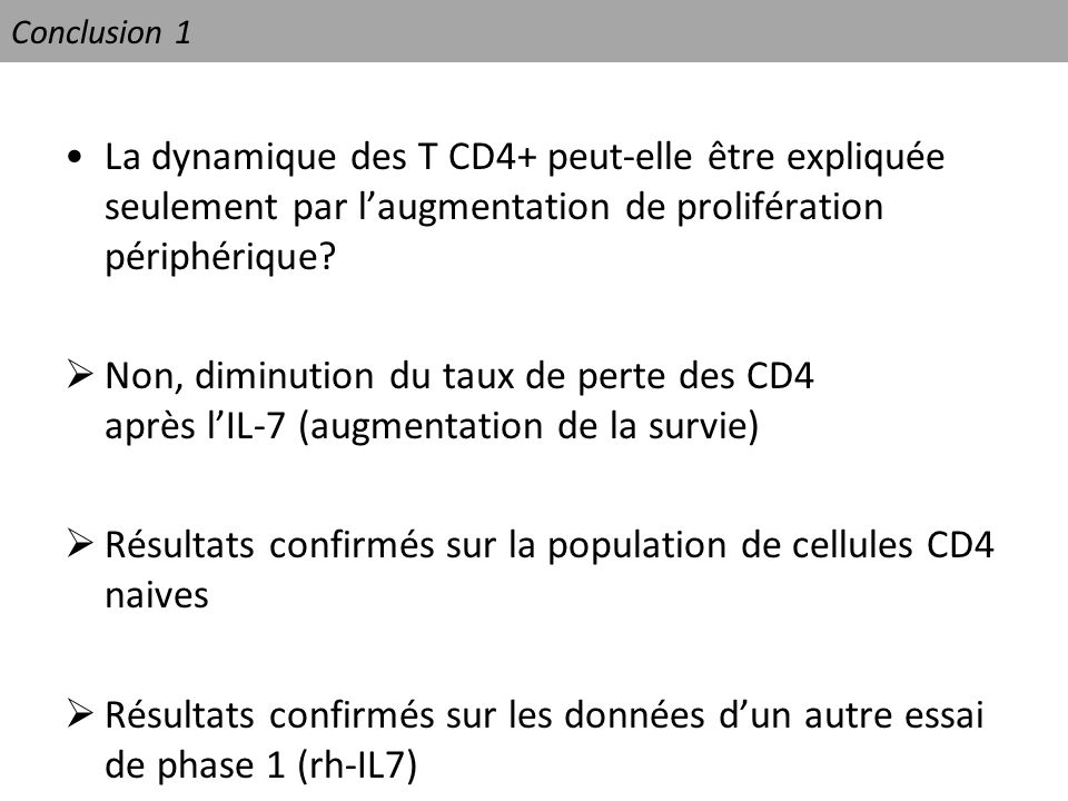 Résultats confirmés sur la population de cellules CD4 naives