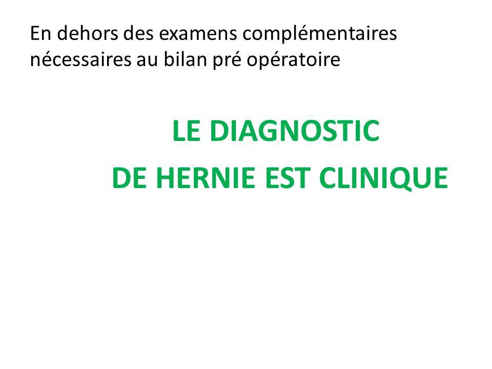 LE DIAGNOSTIC DE HERNIE EST CLINIQUE